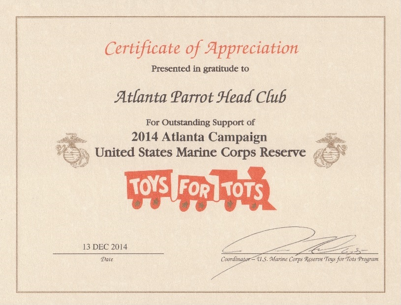 The atlanta parrot head club toys for tots certificate of we received this certificate from the us marine corps reserve for our toys for tots donations from our annual christmas party in 2014 yadclub Image collections